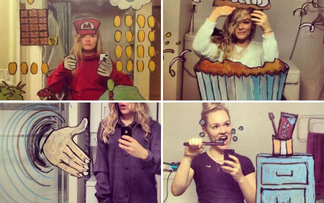 Girl takes amazing mirror selfies super mario or helene