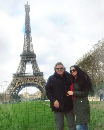 Don McLean and Girlfriend Paris Dylan at the Eiffel Tower