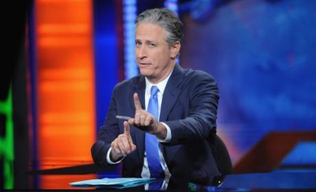 Jon Stewart at His Desk