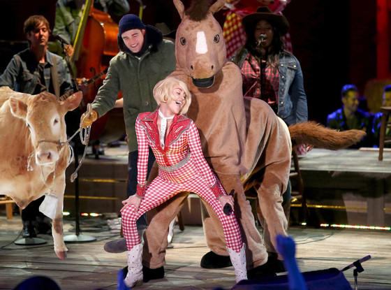Robert Pattinson and Cow Invade Bangerz Tour