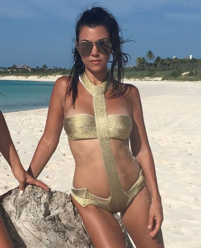 Kourtney Kardashian's Gold Bikini