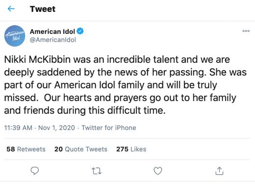 an idol tweet