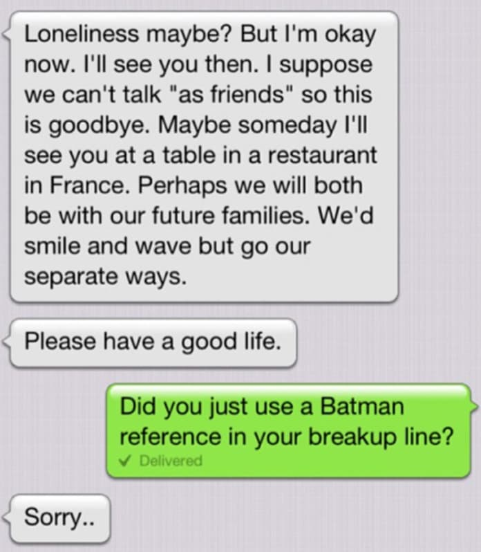 Lazy Breakup Text Uses Batman Quote, Gets Called Out - The ...