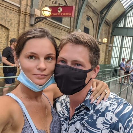 Julia Trubkina and Brandon Gibbs Masked Selfie