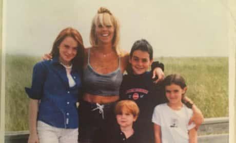 Lindsay Lohan with mom Dina Lohan and family