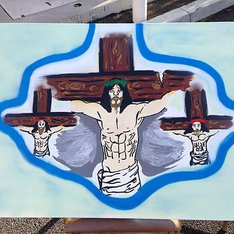 Chris Brown Jesus Painting