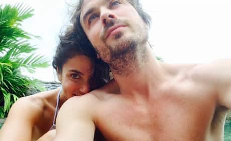 Shirtless Ian Somerhalder and Wife