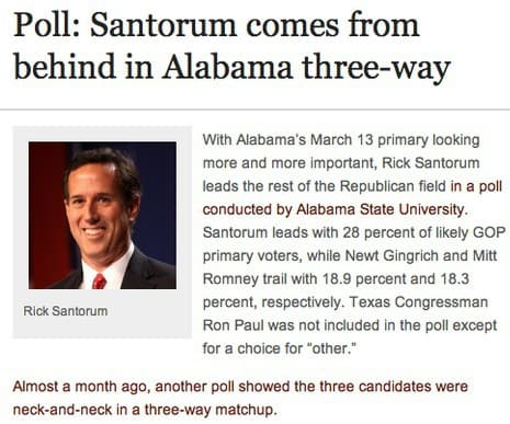 Santorum Comes From Behind