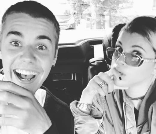 Justin Bieber Rides with Sofia Richie