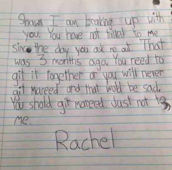 Little Girl's Breakup Note