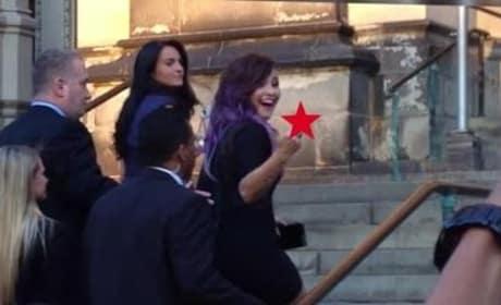 Demi Lovato Gives Heckler the Finger