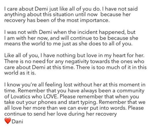 Dani Vitale message to Demi Lovato fans