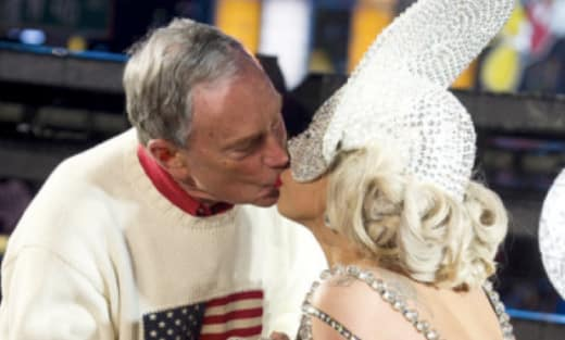Lady Gaga, Michael Bloomberg Kiss