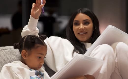 Kim Kardashian and North West at a Family Meeting