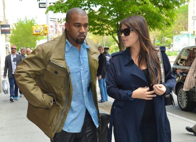Kim Kardashian with Kanye West, Walking