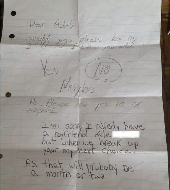 Elementary School Love Letter