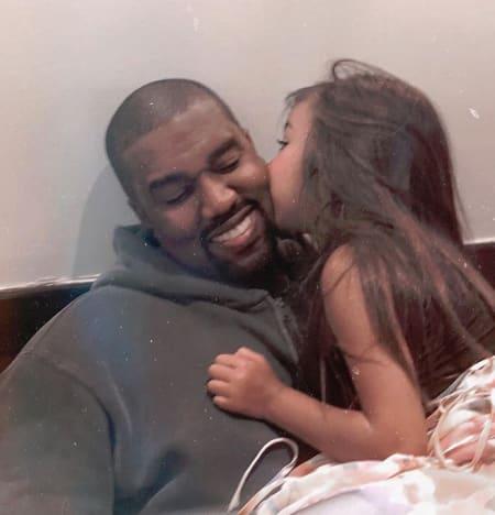 North West Kisses Kanye West