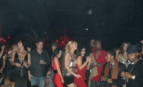 Kourtney Kardashian, Paris Hilton and Kim Kardashian at Tao Las Vegas in 2006