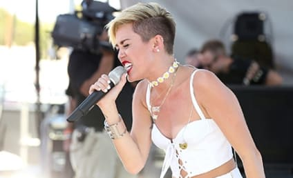 "Miley Cyrus Twerks, Puts on First Live Performance of ""Wrecking Ball"""
