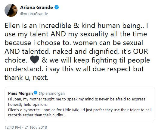 Ariana grande destroys piers morgan 21 november 2018 01