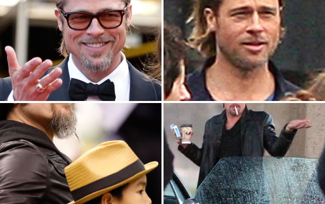 Brad pitt wearing glasses and smiling