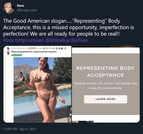 Khloe Kardashian good american brand hypocrisy tweet