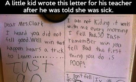Kid Writes Get Well Note