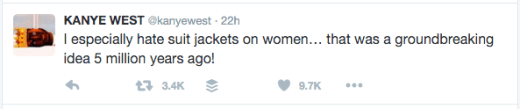 Kanye tweet - suit jackets