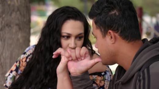 Kalani Faagata and Asuelu Pulaa pinky swear over romantic vacation plans