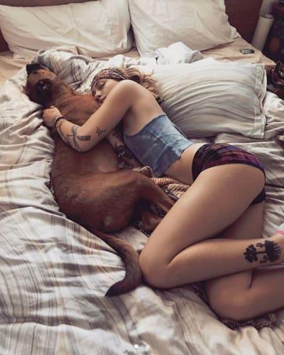 Paris Jackson Snuggles Her Dog