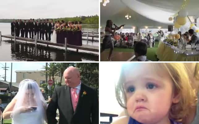Wedding party falls in lake