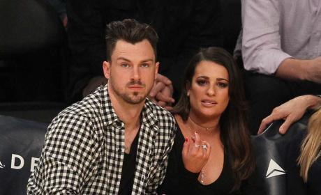 Lea Michele and Matthew Paetz Sit Courtside at the Lakers Game
