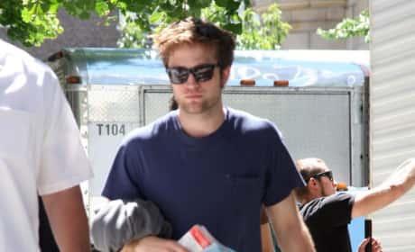Robert Pattinson on Set