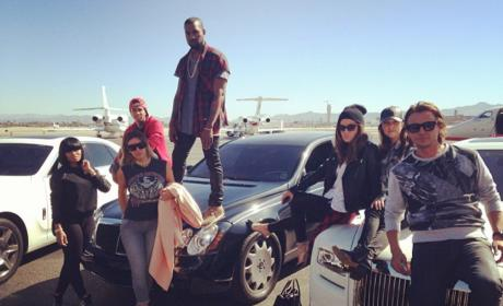 Kim Kardashian and Blac Chyna Pose With a Group of Friends On An Airport Tarmac