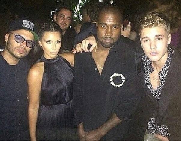 Justin Bieber, Kim Kardashian and Kanye West