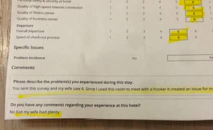 Hotel Survey (Almost?) Outs Cheating Husband; Response Wins Reddit