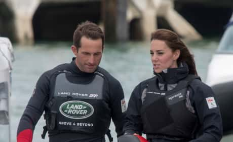 Kate Middleton and Ben Ainslie Walk To Land Rover BAR Boat