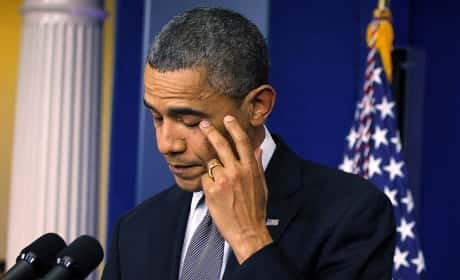 Obama Cries During CT Speech