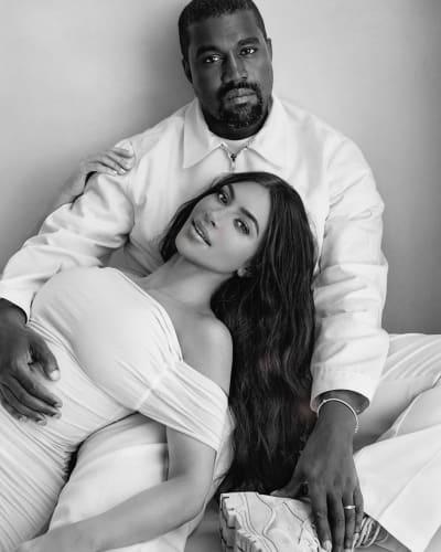 Kim Kardashian and Kanye West Reminisce in Black and White