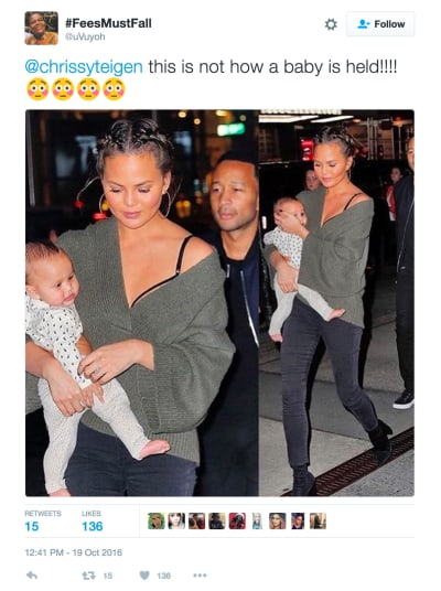 Chrissy Teigen Mishandles Baby Luna Photo