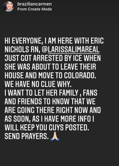 Carmen Nys IG - Larissa Lima arrested by ICE 19 September 2020