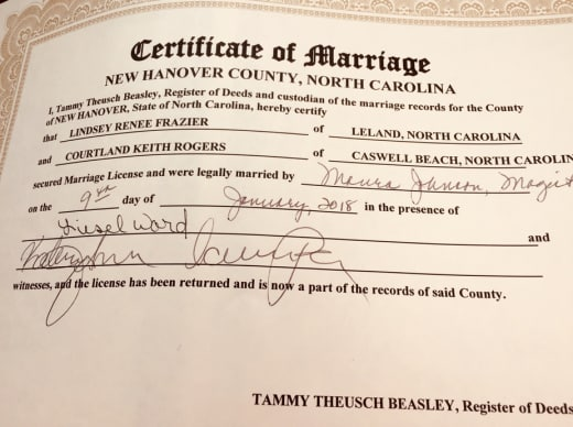 Courtland Rogers, Lindsey Frazier Marriage Certificate