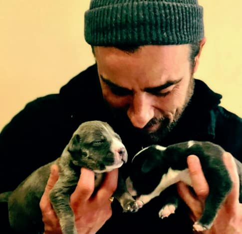 Justin Theroux and Puppies