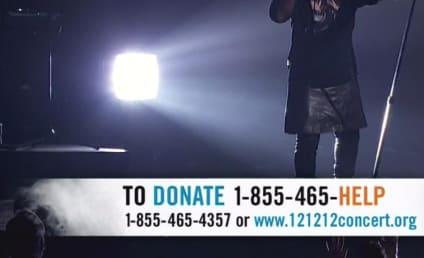 Kanye West Wears Skirt for 12-12-12 Concert Performance
