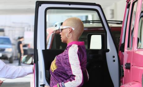 Amber Rose Heads Into a Medical Building