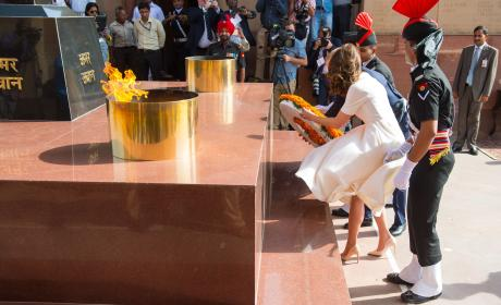 Kate Middleton Lays a Wreath, Suffers Upskirt