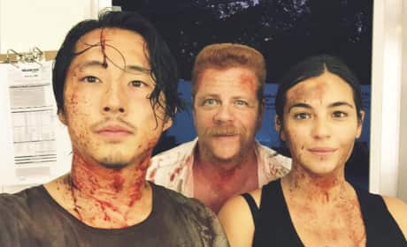 Alanna Masterson with Walking Dead Costars
