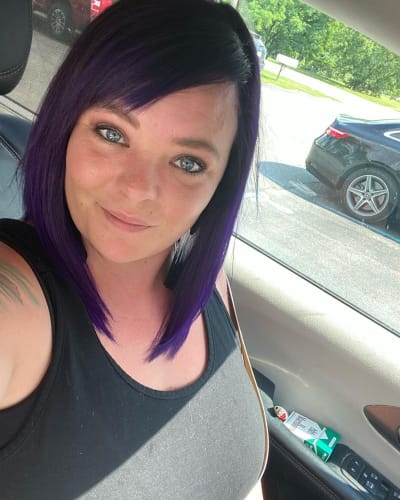 Catelynn Lowell with Purple Hair and Cigarettes