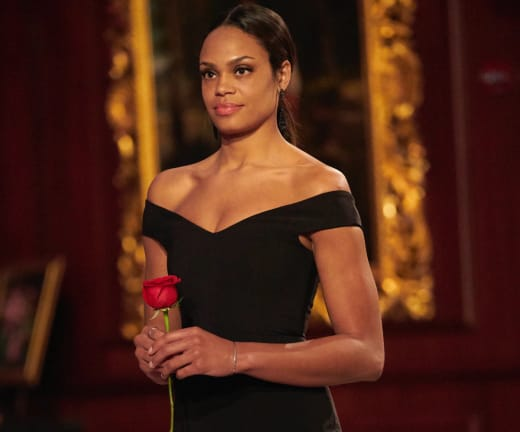 Michelle Young with a Rose