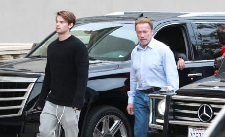 Arnold  and Patrick Schwarzenegger Go Christmas Shopping